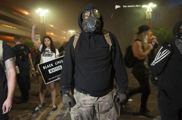 phoenix protestor gas mask
